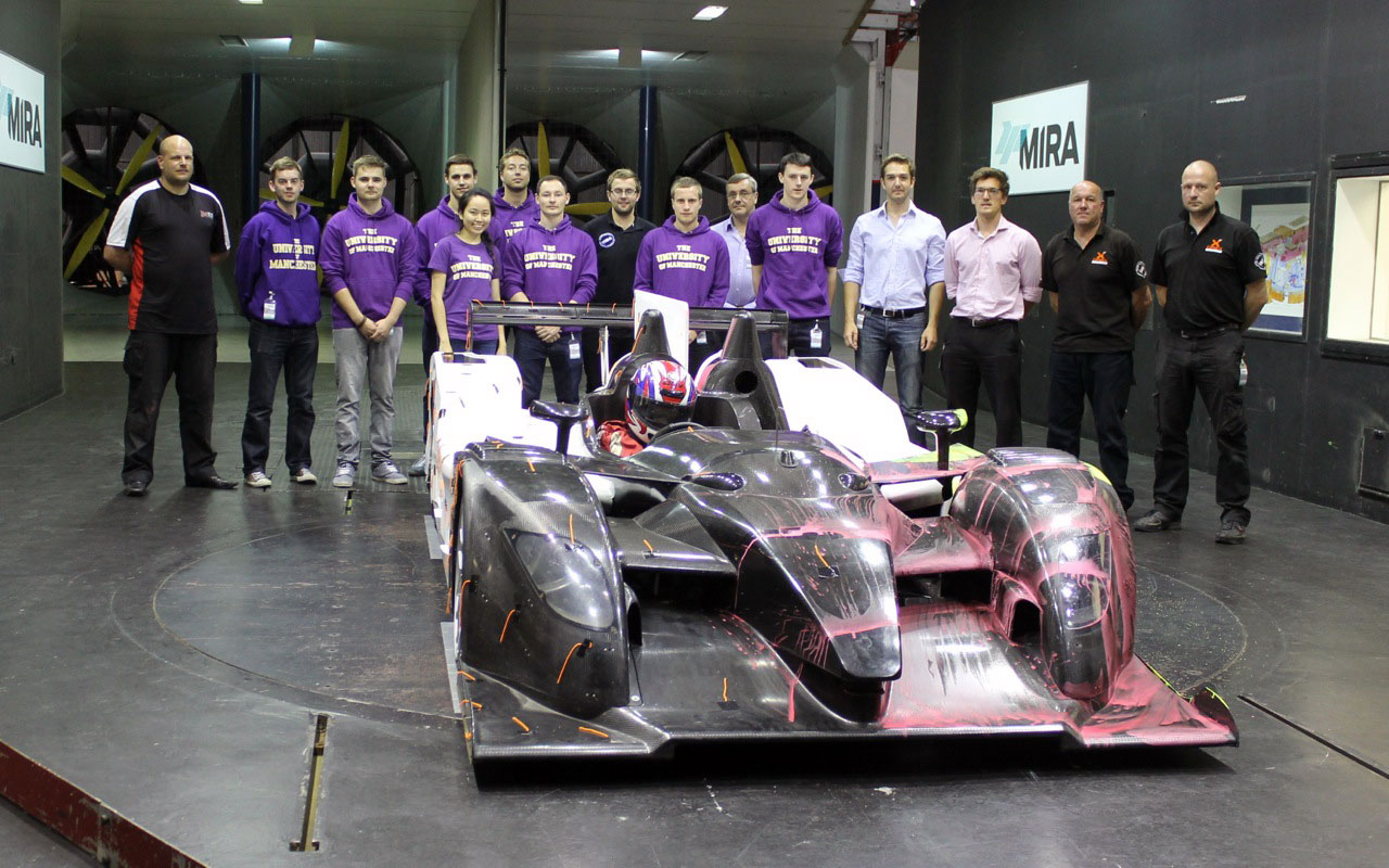 Top Aerospace students test Le Mans race car in the National Wind Tunnel Facility at MIRA